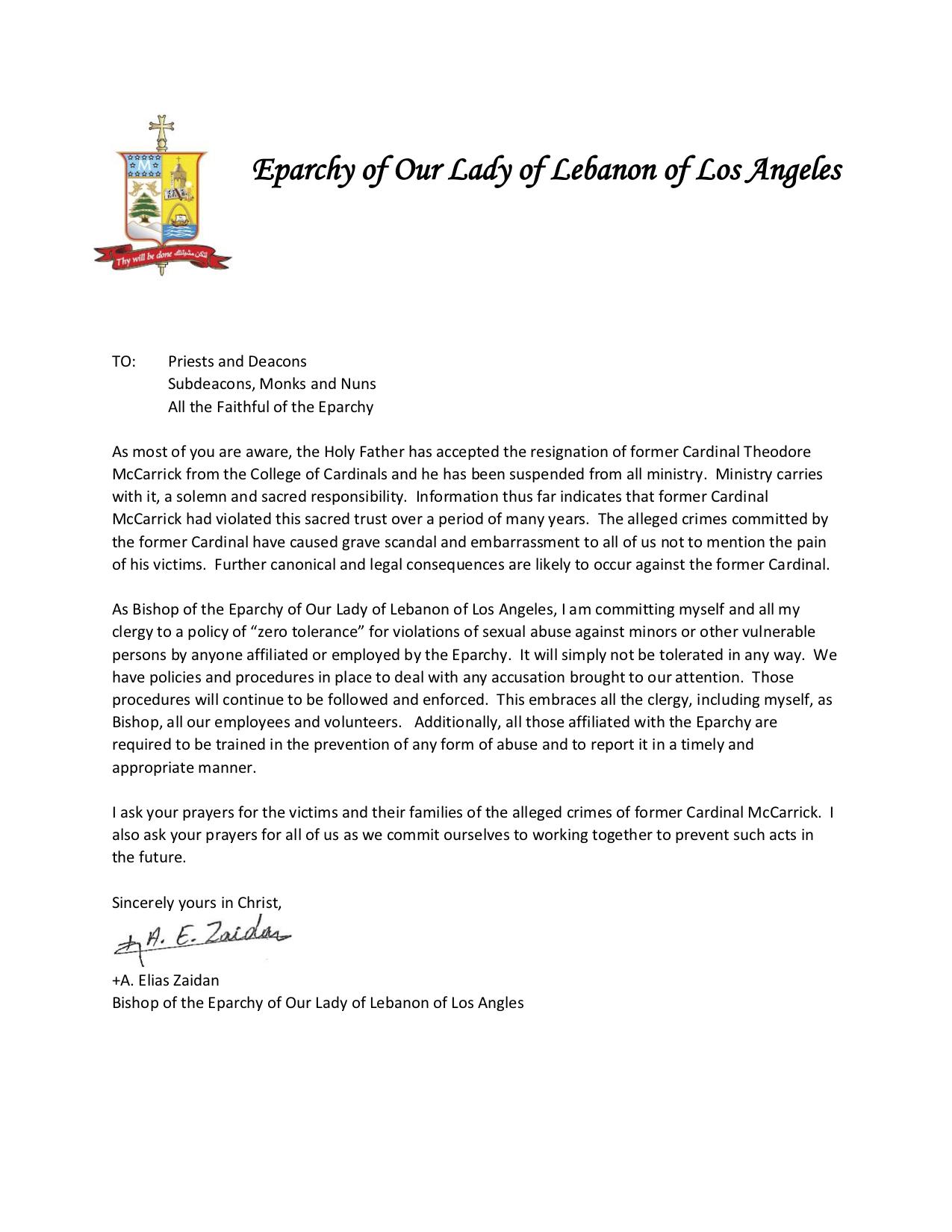 Letter from Bishop Zaidan | Saint Sharbel Church